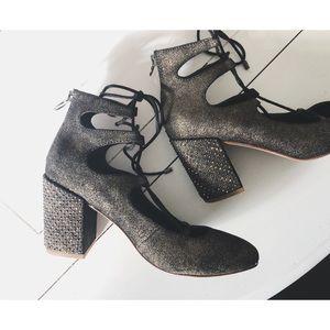 Anthropologie Latigo Lace Up Block Heels